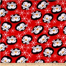 Fleece Prints Pengiuns Red