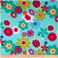 Rayon Challis Floral Light Blue