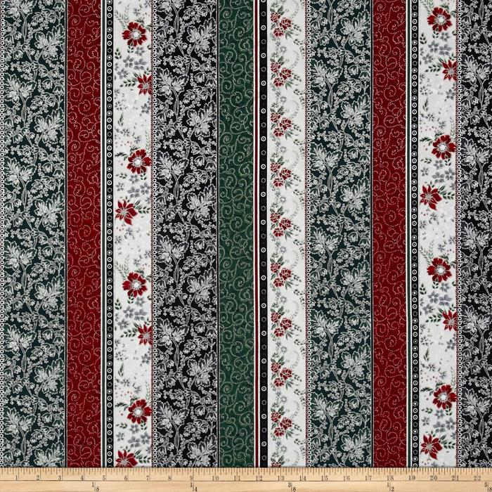 Berries and Blooms Metallic Border Stripe Ice/Silver
