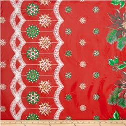 Oil Cloth Christmas Border Red Fabric