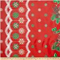 Oil Cloth Christmas Border Red