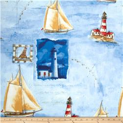 Harbor Point Large Sail Boats Blue Fabric