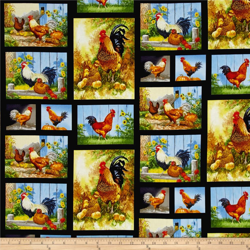 Old Farmstead Chickens & Roosters Black Fabric