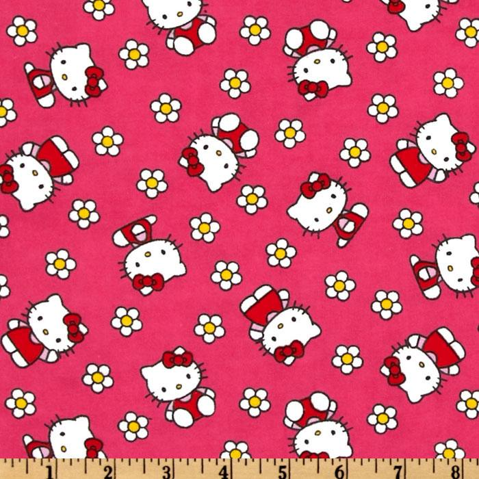 Hello Kitty Flannel Flower Toss Hot Pink