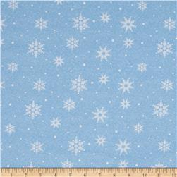 Woodland Noel Flannel Snowflake Light Blue