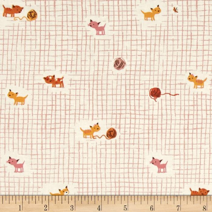 Heather Ross Tiger Lily Kittens and Yarn Pink