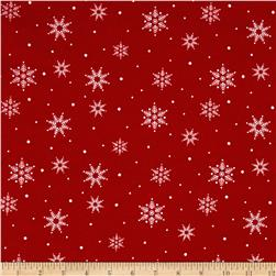 Woodland Noel Flannel Snowflake Red