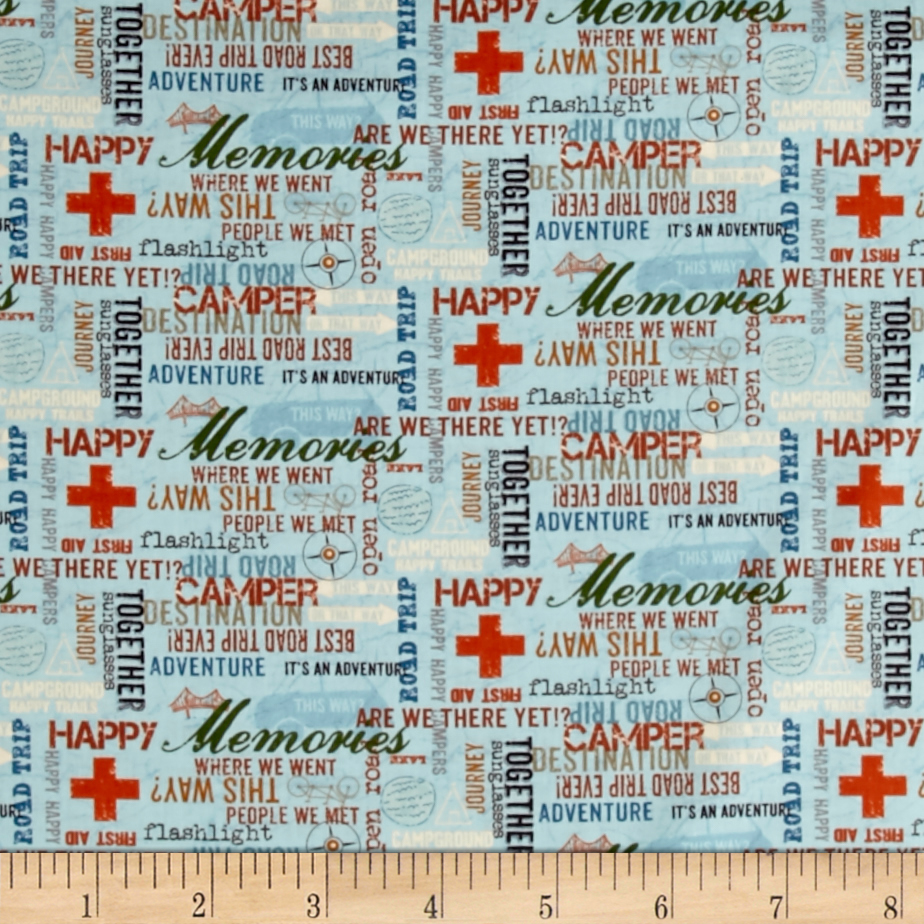Road Trip Words Light Sky Fabric 0437250