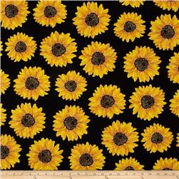 Kanvas Forever Sunflowers Metallic Spaced Sunflower Black