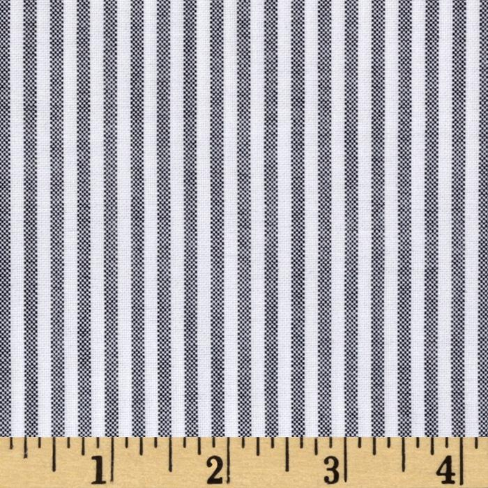 Oxford Shirting Yarn Dyed Large Stripe Black