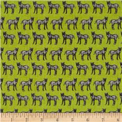 Jungle Party Linear Zebras Black & White/Green