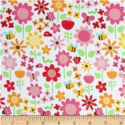 Riley Blake Ladybug Garden Flannel Large Floral White