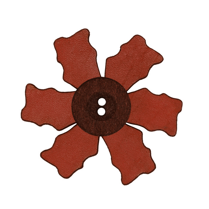 2.25'' Leather Button Flower Cherry