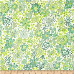 Kaufman London Calling Lawn Floral Burst Green