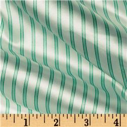 Stretch City Charmeuse Satin Stripes Green/White