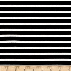 Stretch Rayon Jersey Knit Stripes Black/White