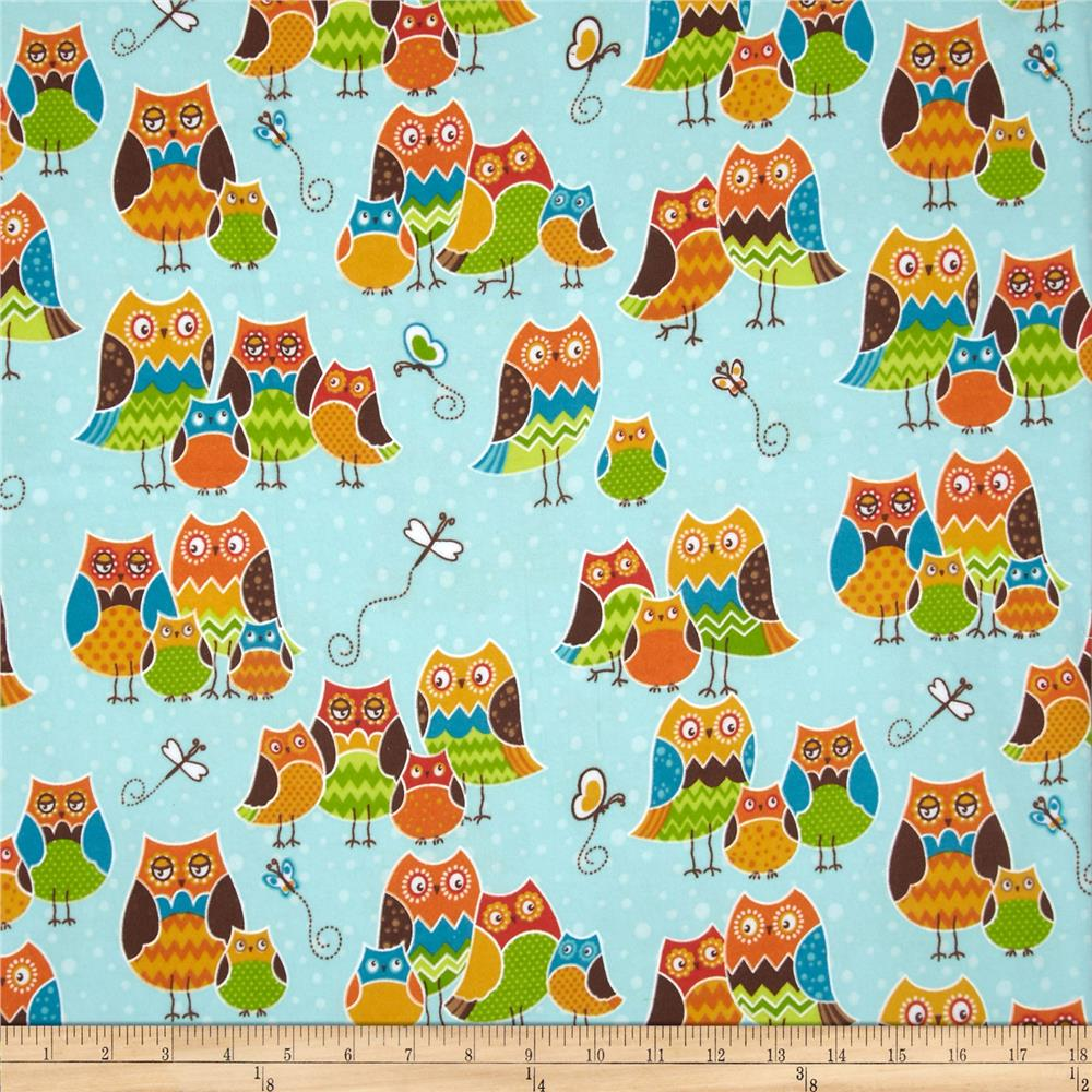 Owl Wonderful Flannel Packed Owls Blue