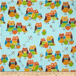 Owl Wonderful Flannel Packed Owls Blue Fabric