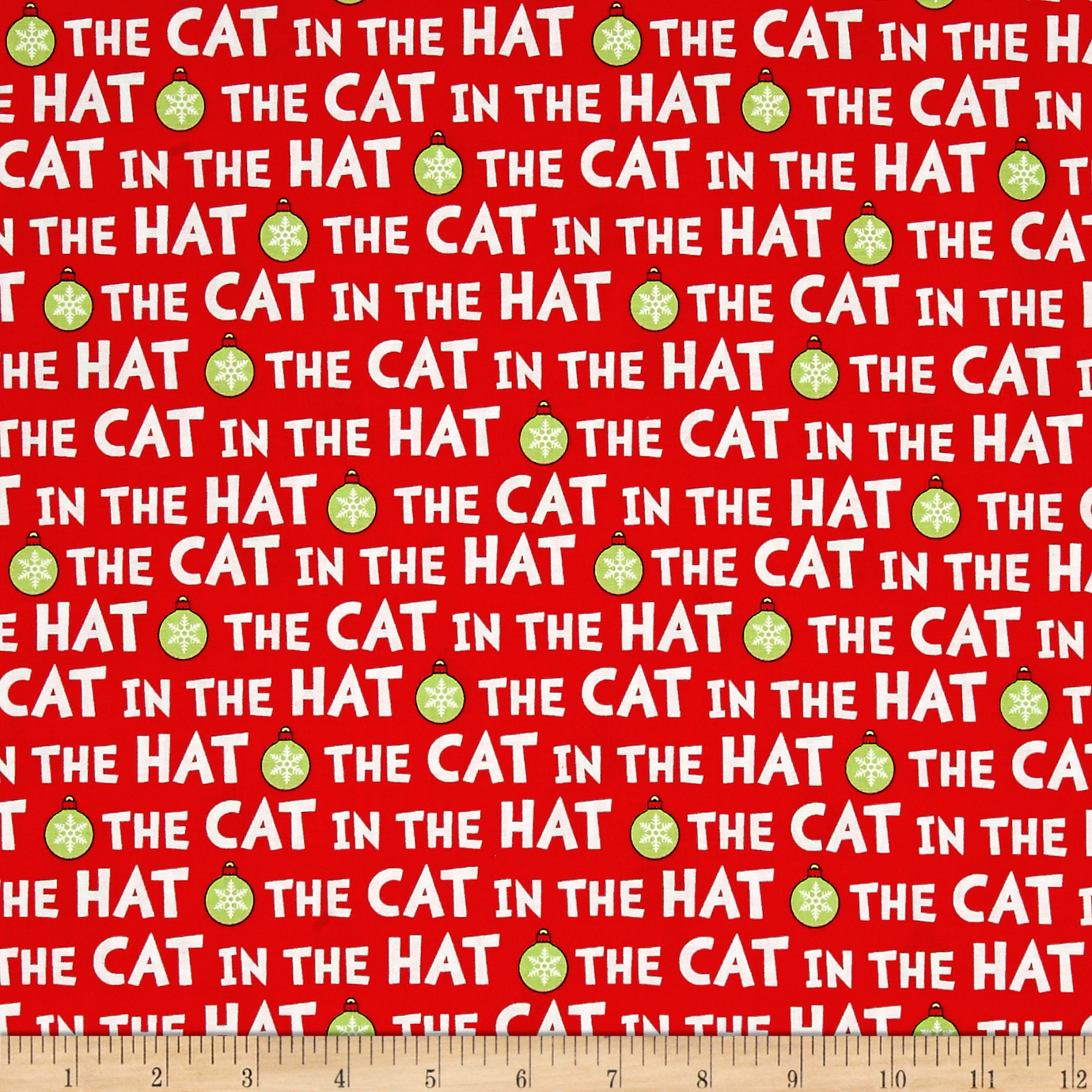 Kaufman The Cat In The Hat Christmas Words Red Fabric