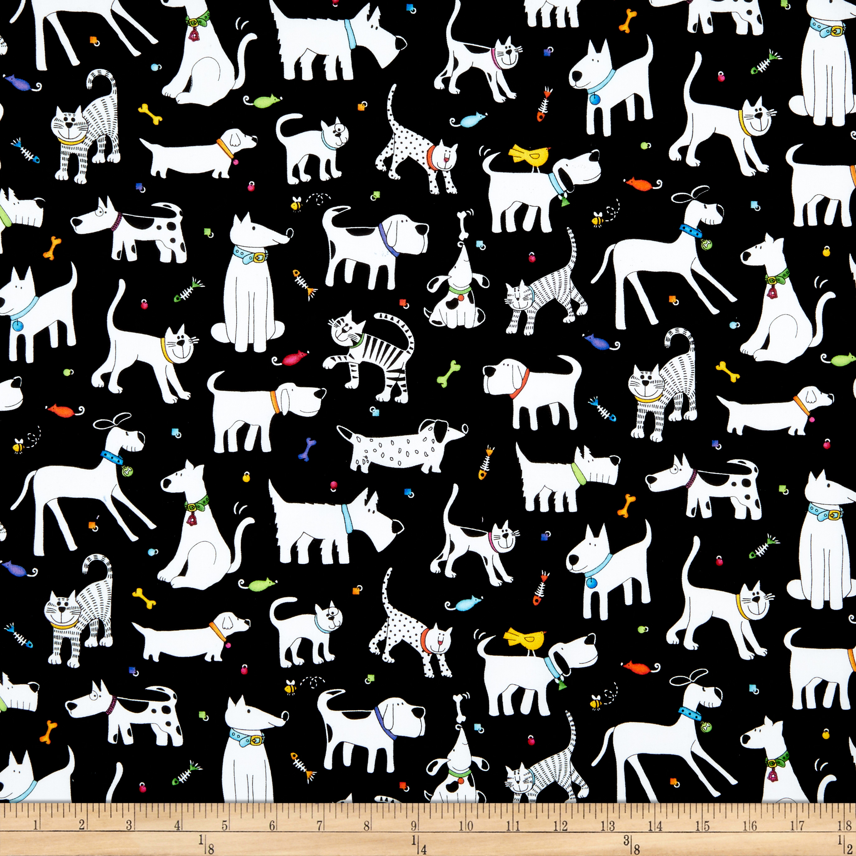 Epic Woof N' Whiskers Pets Toss Black Fabric