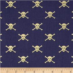 Dear Stella Seaworthy Metallics Jolly Roger Navy/Gold Fabric