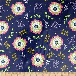 Riley Blake Floriography Laminate Floral Blue Fabric
