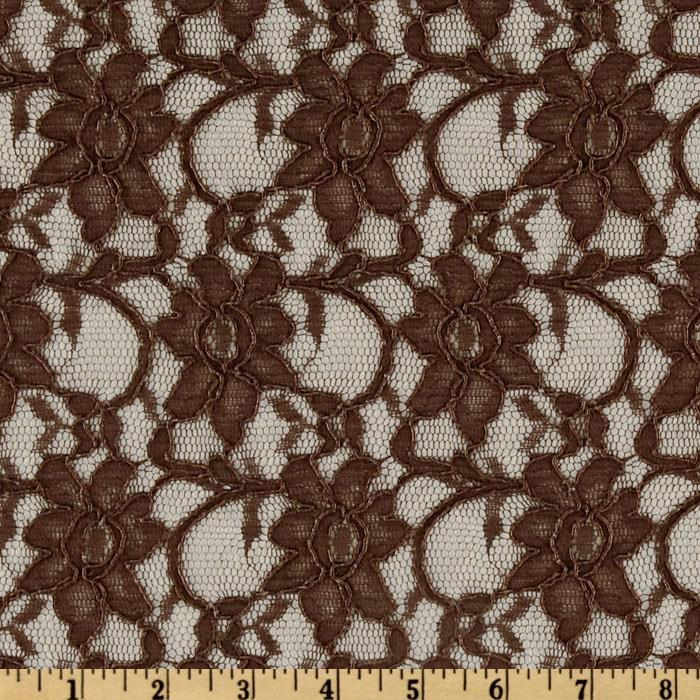 Xanna Floral Lace Fabric Chocolate Brown