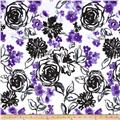 Stretch Poplin Floral White/Black/Purple