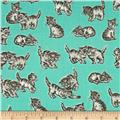 Robert Kaufman Whiskers & Tails Kitty Cats Mint
