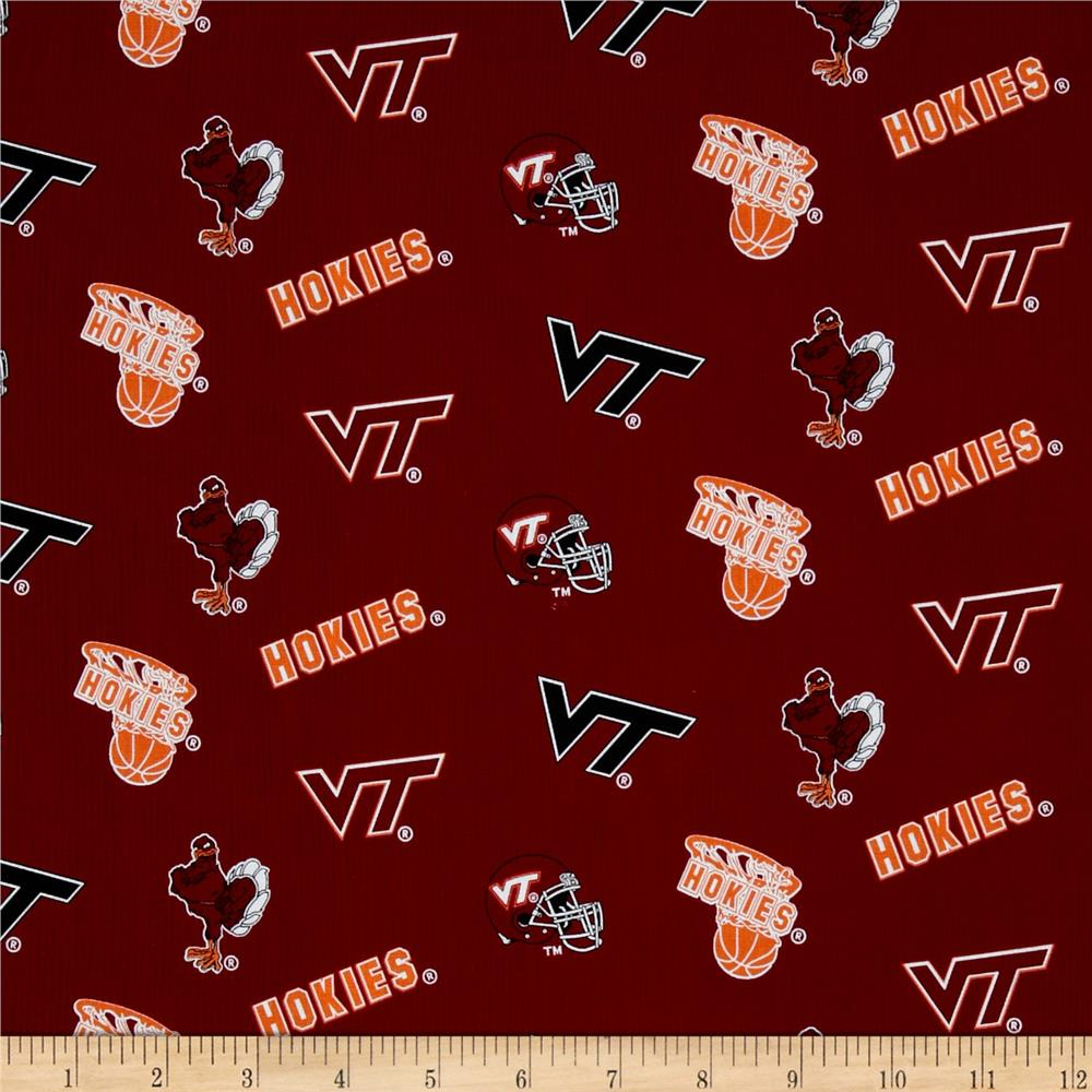 Collegiate Cotton Broadcloth Virginia Tech Burgundy