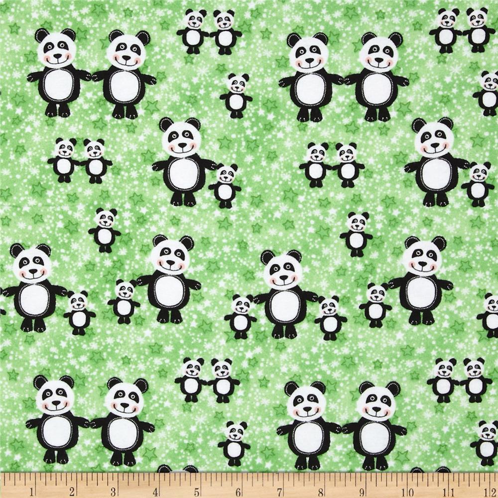 Comfy Flannel Panda Bears Green