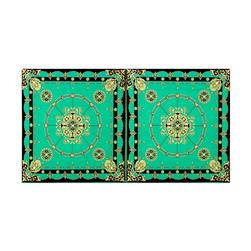 Stretch ITY Knit Medallion Double Border Print Green