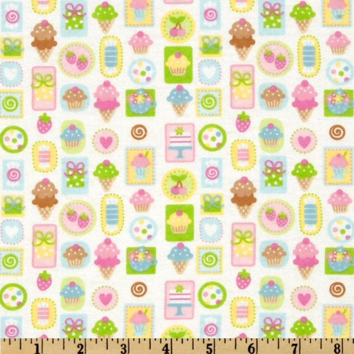 Wildflowers & Sweet Treats Flannel Cones & Cakes White