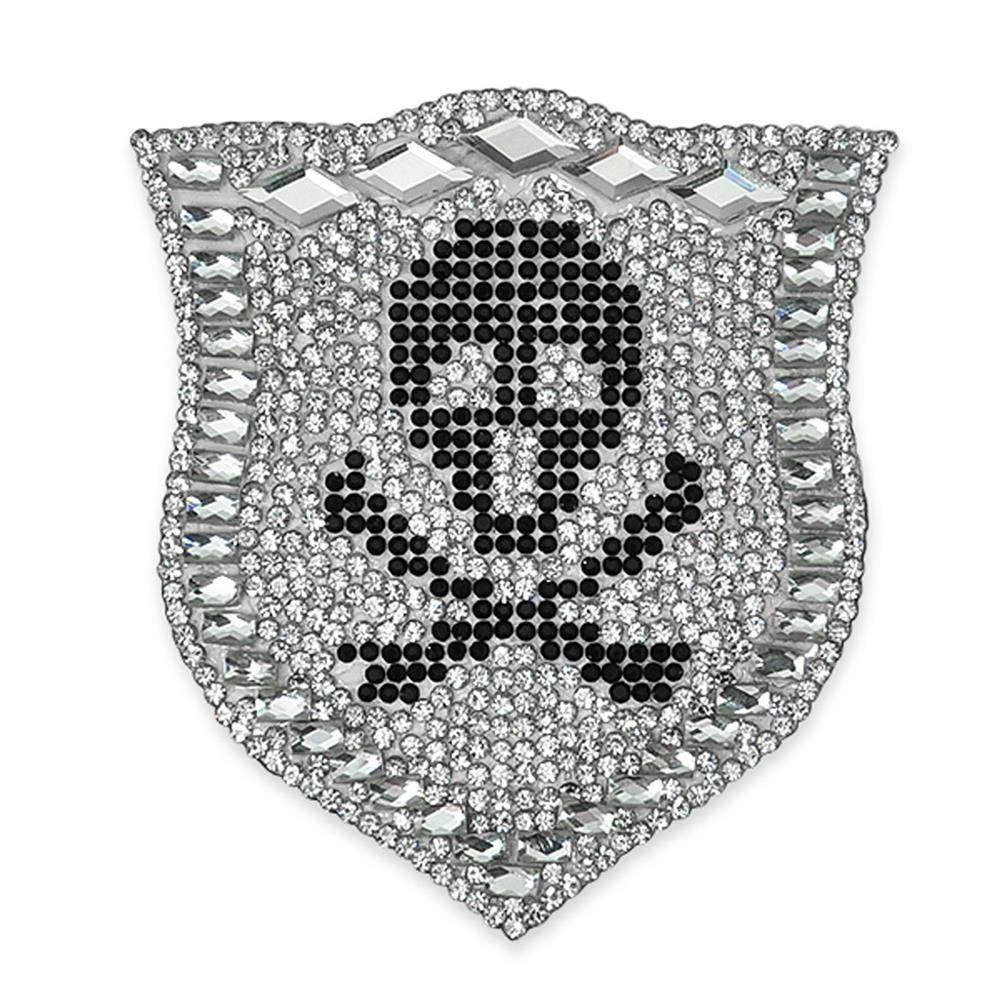 "3"" x 2 3/4"" Iron On Rhinestone Crest with Skull Applique"