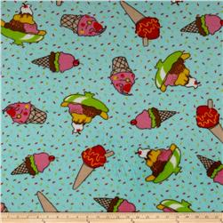 Whisper Coral Fleece Ice Cream Aqua Fabric