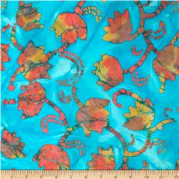 Indian Batik Tulips Turquoise