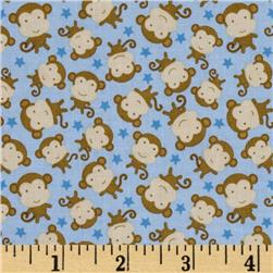 Riley Blake Snips & Snails Monkeys Blue Fabric