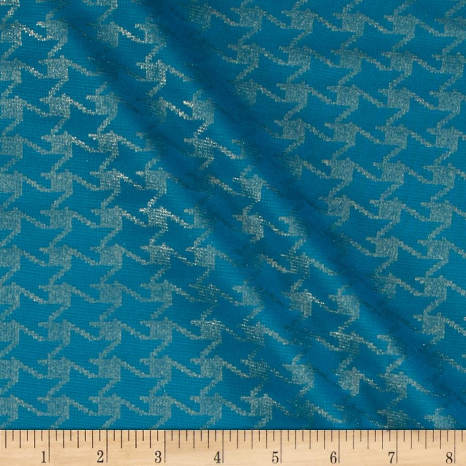 Shimmer Ponte de Roma Knit Houndstooth Turquoise/Gold