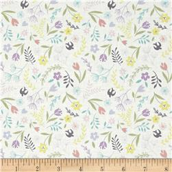 Lewis & Irene Salisbury Spring Swallows & Blooms White