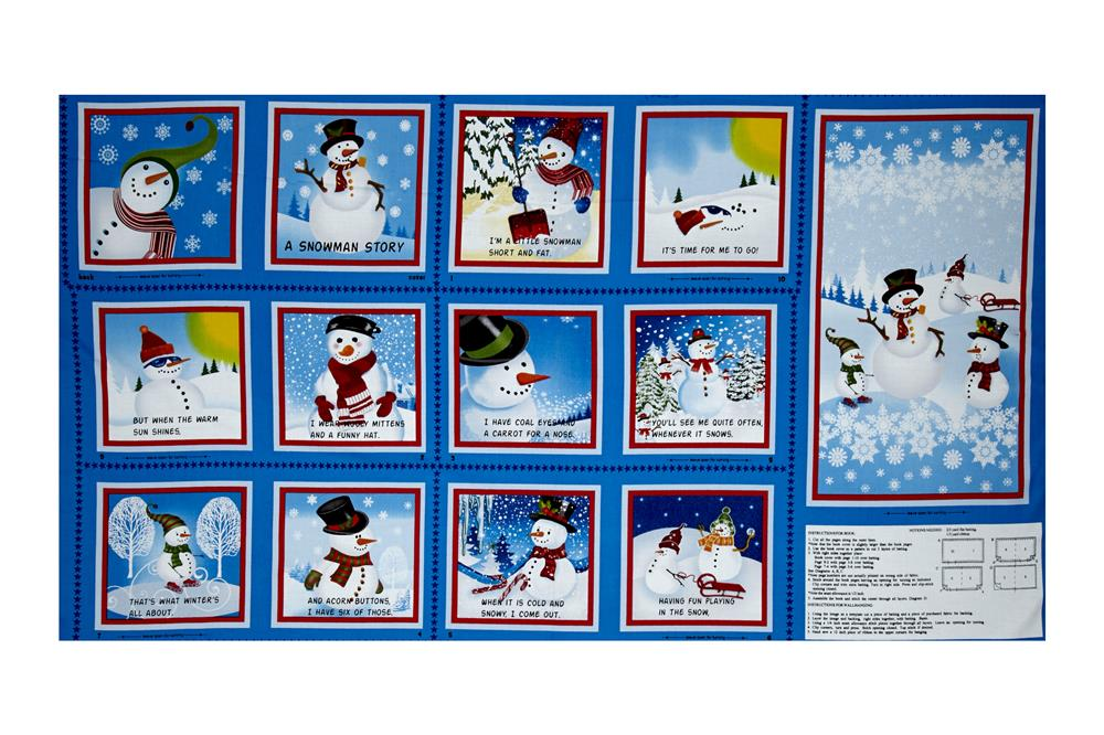 "Quilting Treasures Holiday Treasures Snowman 23.5"" Book Panel Blue"