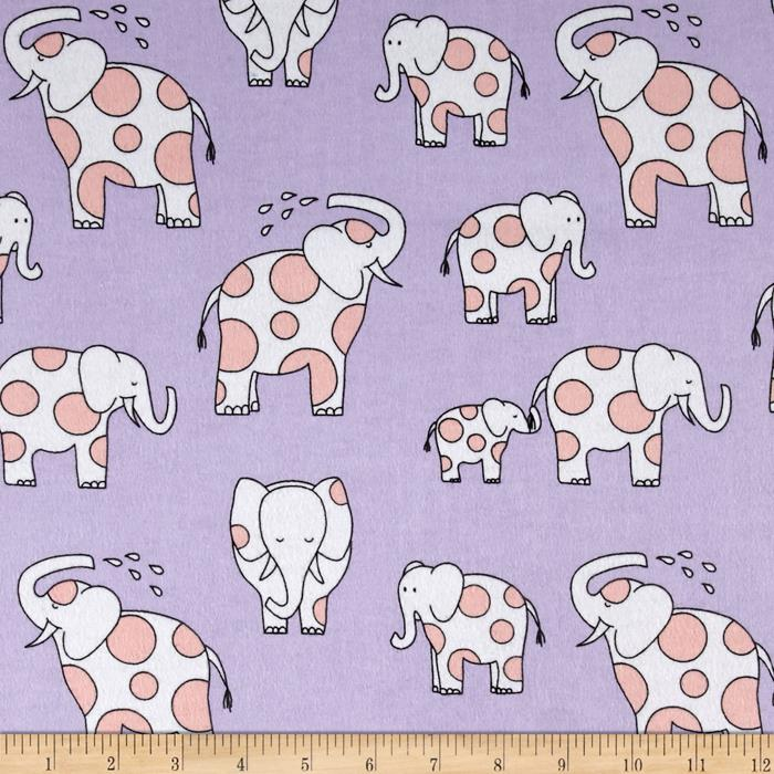 Michael Miller Baby Zoo Flannel Endearing Elephants Lavender