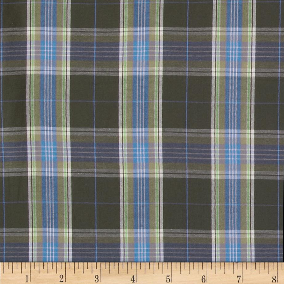 Cotton Plaid Shirting Olive
