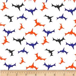 Cotton Spandex Jersey Knit Bats In The Night Halloween White Multi