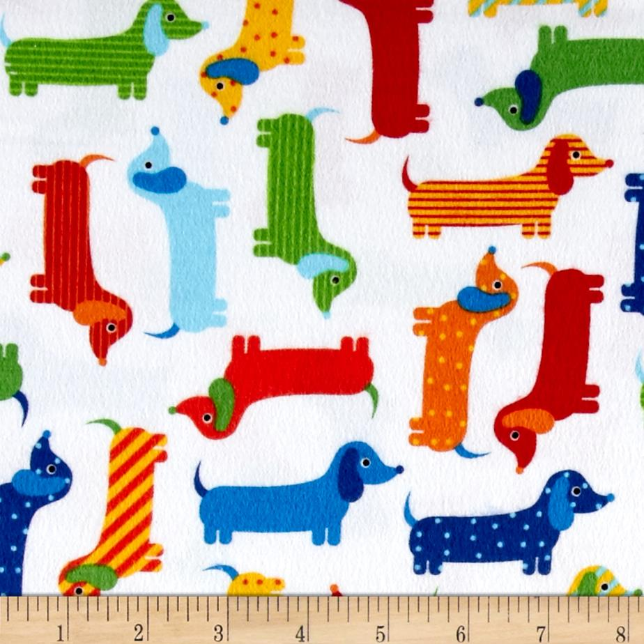Kaufman Urban Zoology Flannel Weiner Dogs Bright