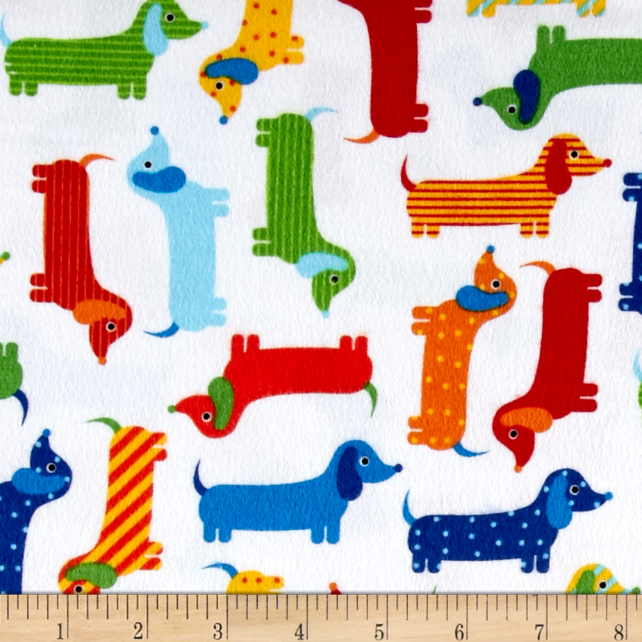 Kaufman Urban Zoologie Flannel Weiner Dogs Bright Fabric