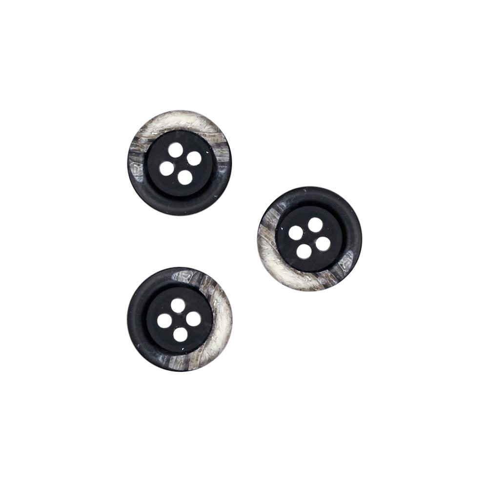 "Fashion Button 5/8"" Kotka Black"