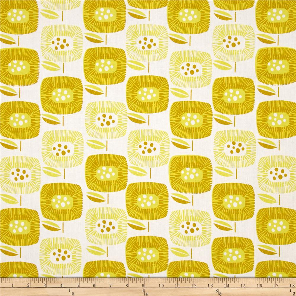 Cloud 9 Organic  Canvas Around the Block Big Blooms Yellow Fabric