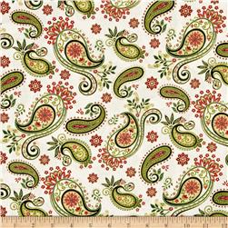 Winter Garden Metallic Paisley Cream