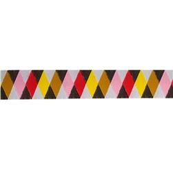 Jessica Jones Harlequin Woven Ribbon Pink/Red/Brown/Yellow