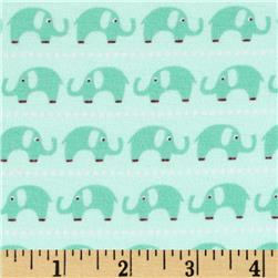 Riley Blake Cotton Jersey Knit Oh Boy Elephants Aqua